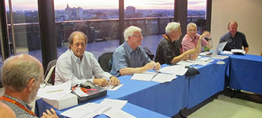 AGM in Toulouse, 15/09/13; Council member and regular contributor to our magazine David Wadham, delegate for Serbia Krsta Paskovic, secretary Dave MacDougall, president Dave Ballinger, vice-president David Edwards-May and Russell Thompson of Scottish Canals, presenting the case for hosting the WCC in Inverness, Scotland