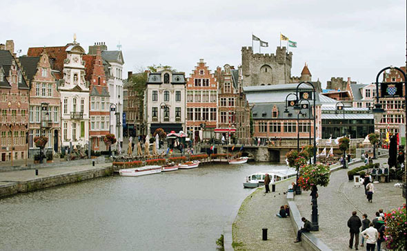 River Lys quays in the heart of Ghent
