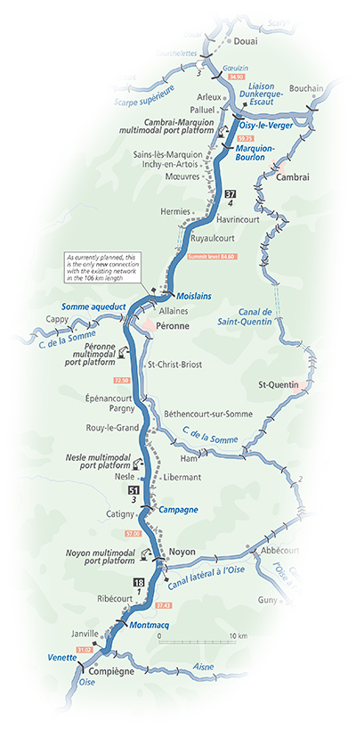 Route of the Seine-Nord Europe Canal (from Inland Waterways of France)